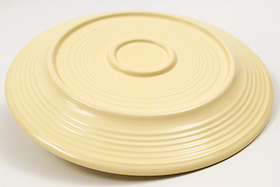 Vintage Fiesta Twelve Inch Divided Plate in Original Ivory Glaze Early Ringware Pottery