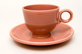 50s Fiesta Rose Fiesta Teacup and Saucer Fiestaware Pottery For Sale