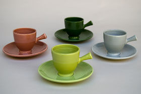 50s Fiestaware Chartreuse AD Demitasse Cup and Saucer Set