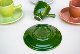 50s Fiestaware Forest Green AD Demitasse Cup and Saucer Set