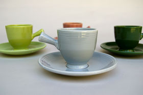 50s Fiestaware Gray AD Demitasse Cup and Saucer Set