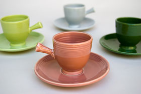 50s Fiestaware Rose AD Demitasse Cup and Saucer Set