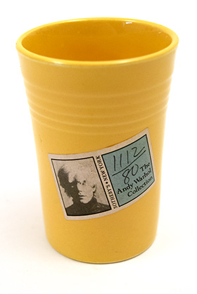 Andy Warhol Fiestaware Juice Tumbler from Sotheby Sale New York Warhols Fiesta Pottery Collection