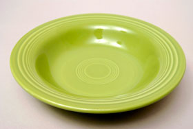 Vintage Fiesta 50s Color Chartreuse Deep Plate: Hard to Find Go-Along Fiestaware Pottery For Sale