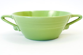 Vintage Harlequin Pottery Cream Soup Bowl in Original Chartreuse Glaze 50s Art Deco Dinnerware