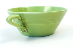 Vintage Harlequin Pottery Cream Soup Bowl in Original Chartreuse Glaze 30s Art Deco Dinnerware