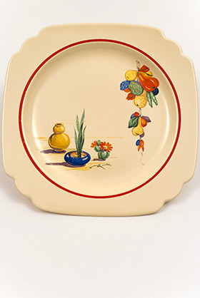 Conchita Decalware Homer Laughlin Ivory Luncheon Plate with Southwestern Theme Decals and Red Stripes