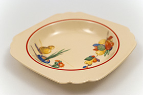 Conchita Decalware Homer Laughlin Red Stripe Deep Plate