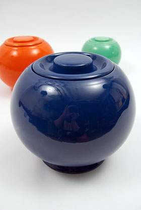 Kitchen Kraft Covered Ball Jar | Cookie Jar | Original Cobalt Blue Cobalt Glaze For Sale Vintage Fiestaware