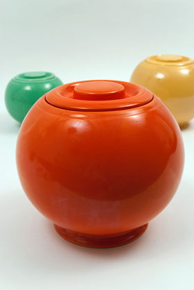 Radioactive Red Fiesta Kitchen Kraft Cookie Jar, Ball Jar, Covered Jar Fiestaware Pottery For Sale