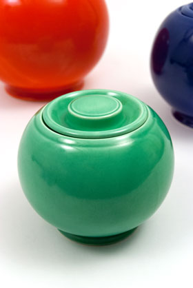 Original Green Fiesta Kitchen Kraft Small, Ball Jar, Covered Jar Fiestaware Pottery For Sale