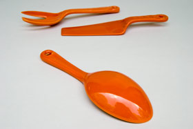 Kitchen Kraft Salad Spoon in Original Red: Hard to Find Go-Along Fiestaware Pottery For Sale