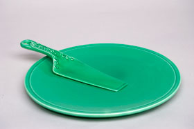 Kitchen Kraft Cake Plate in Original Green: Hard to Find Go-Along Fiestaware Pottery For Sale