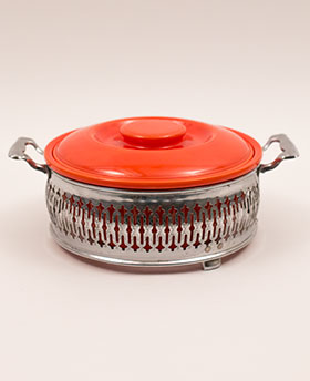 Original Red Kitchen Kraft Casserole with Metal Holder: GoAlong Fiestaware Pottery
