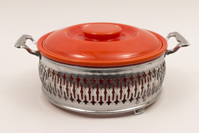 Vintage Fiesta Red Homer Laughlin Casserole with Royal Metal Chrome Holder