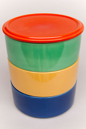 Kitchen Kraft Stacking Refigerator Set: Hard to Find Go-Along Fiestaware Pottery For Sale