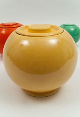 Original Yellow Fiesta Kitchen Kraft Large Cookie Jar, Ball Jar, Covered Jar Fiestaware Pottery For Sale