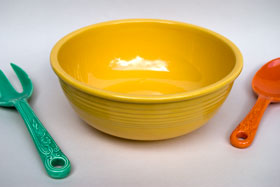 Fiesta Promotional Salad Bowl Unlisted in Original Yellow Glaze: 1940s dinnerware: Hard to Find Go-Along Fiestaware Pottery For Sale