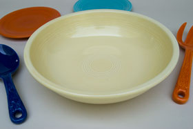 Vintage Fiesta 11 3/4 inch Fruit Bowl: Original Ivory Fiestaware For Sale Rare Gift Hard to Find 1930s 1940s