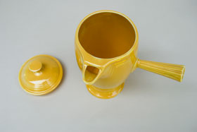 VIntage Fiestaware, Original Yellow, Demitasse Coffeepot, A.D., Stick Handle, Rare Pottery For Sale