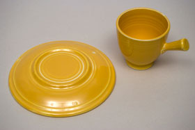 Vintage Fiesta Pottery After Dinner Stick Handled Cup & Saucer in Original Yellow