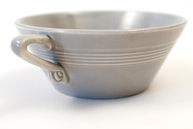 Vintage Harlequin Pottery Cream Soup Bowl in Original Gray Glaze 30s Art Deco Dinnerware