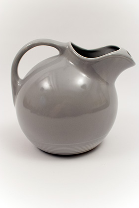 Harlequin Water Pitcher in 50s Gray Glaze Service Ball Pitcher Early Homer Laughlin Vintage Pottery