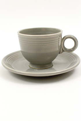 50s Fiesta gray Fiesta Teacup and Saucer Fiestaware Pottery For Sale