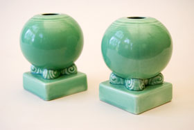 VIntage Fiestaware, Original Green,Bulb Candle Holders