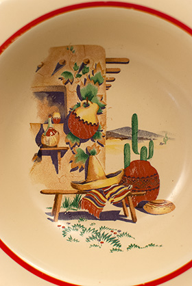 Hacienda Decalware Homer Laughlin Century Shape Southwestern Hacienda Red Stripe Berry Bowl