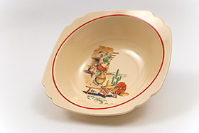 Mexicana Decal Ware Homer Laughlin Red Stripe Round Nappy Bowl