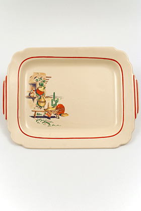 Mexicana Decalware Homer Laughlin Ivory Batter Tray with decals and red stripes