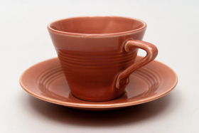Vintage Harlequin Pottery Rose Cup and Saucer Set For Sale