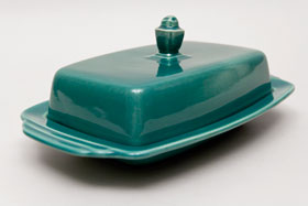 Vintage Harlequin Pottery For Sale: Fiestaware Vintage Spruce: Homer Laughlin: Rare Butter Dish