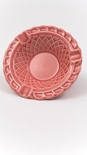 Harlequin Pottery Basketweave Ashtray in Original 40s Rose Glaze