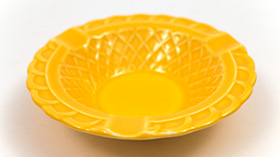 Harlequin Pottery Basketweave Ashtray in Original Yellow Glaze