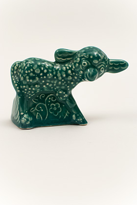 Harlequin Animal Novelty Lamb in Spruce Green Glaze Homer Laughlin Pottery for Woolworths