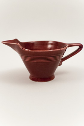 Harlequin Pottery High Lip Creamer in Original Maroon Glaze