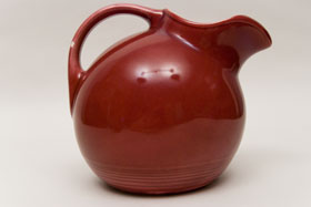 Maroon Harlequin Service Water Pitcher: Gift, Rare, Hard to Find, Buy Onlline Now, American Antique Pottery