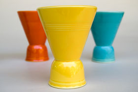 Vintage Harlequin Double Egg Cup in Yellow: Harlequin Dinnerware 30s 40s American Solid Color Dinnerware For Sale