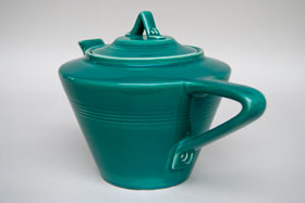Vintage Harlequin Pottery For Sale: Spruce Teapot 40s 50s Pottery