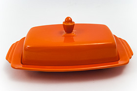 Radioactive Red Vintage Harlequin Half Pound Lidded Butter Dish