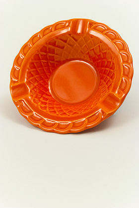 Harlequin Pottery Basketweave Ashtray in Radioactive Red Glaze