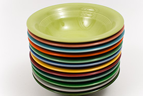 Harlequin Pottery Oatmeal Bowl in Original Chartreuse Glaze