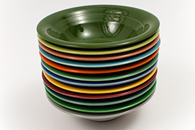 Harlequin Pottery Oatmeal Bowl in Original Dark Forest Green Glaze