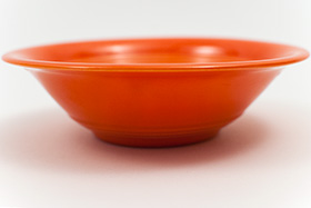 Harlequin Pottery Oatmeal Bowl in Original Radioactive Red Glaze