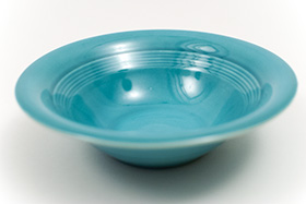 Harlequin Pottery Oatmeal Bowl in Original Turquoise Glaze