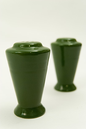 Vintage Harlequin Pottery Salt and Pepper Shakers in Original 50s Forest Green Glaze