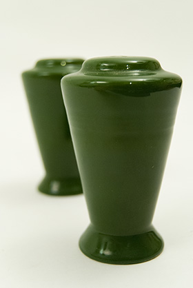 Vintage Harlequin Pottery Salt and Pepper Shakers in Original Forest Green Glaze
