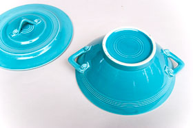 Harlequin Pottery Turquoise Covered Casserole: Pottery for Sale